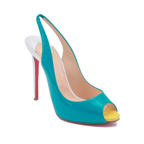 "Christian Louboutin // Patent Leather 5"" Pumps // Turquoise Blue (US: 5)"