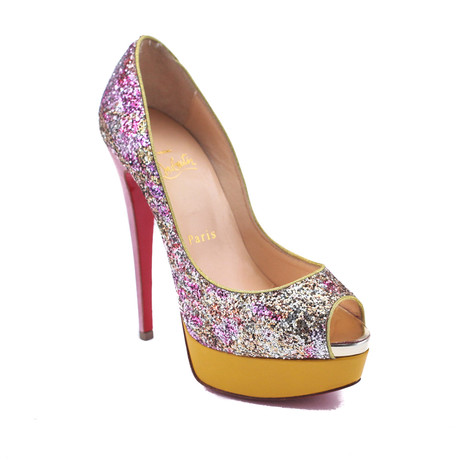 Christian Louboutin // Leather Glitter Pumps // Red + Yellow (US: 5)