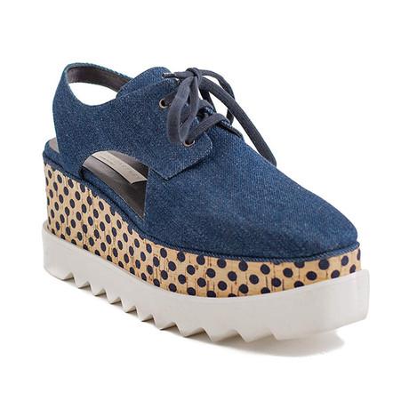"Stella McCartney // Denim ""Elyse"" Platform Sandals // Blue (US: 5)"