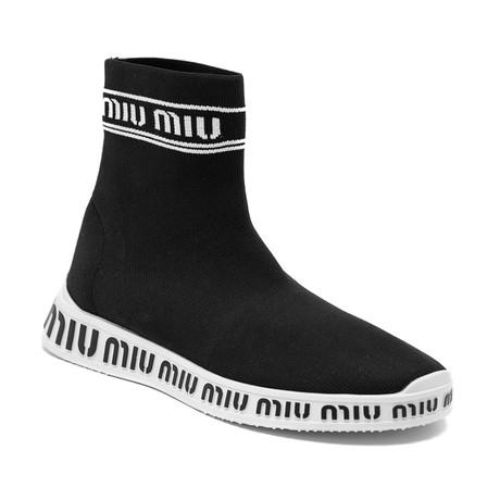 Miu Miu // Knit Mid-Top Sneakers // Black (US: 5)