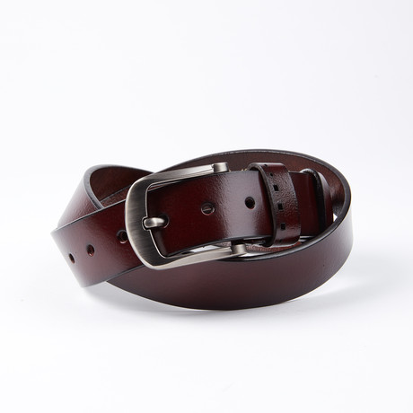 Chance Leather Belt // Cherry Brown