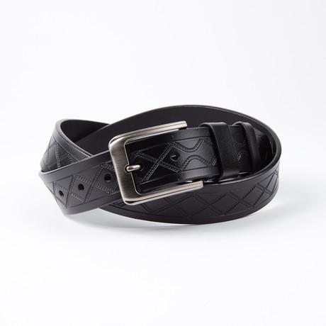 Emile Leather Belt // Black + Stitching