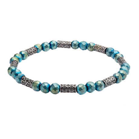 Blue Hematite + Antique Steel Bracelet