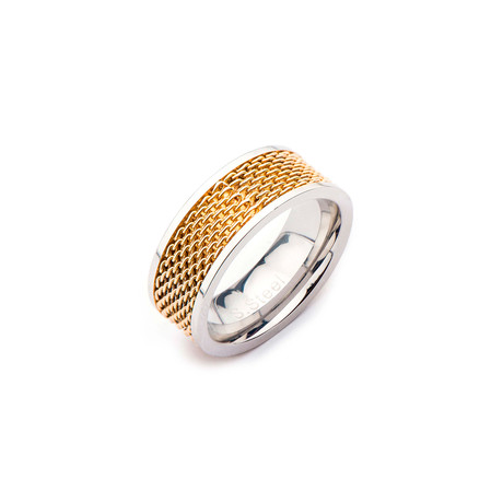 Steel Two Tone Mesh Ring (Size: 9)