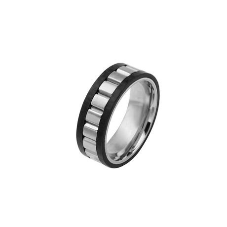 Stainless Steel Center Ladder + Solid Carbon Fiber Ring // Silver + Black (Size 9)