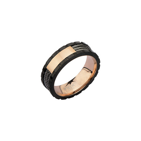 Inner-Outer Cable Inlay Ring // Black + Rose Gold (Size: 9)