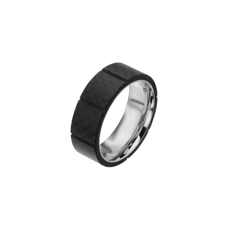 Stainless Steel + Solid Carbon Fiber Ridged Ring // 8mm (Size: 9)
