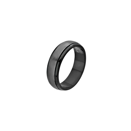 Stainless Steel Inner Spinner Ring // Black (Size: 9)