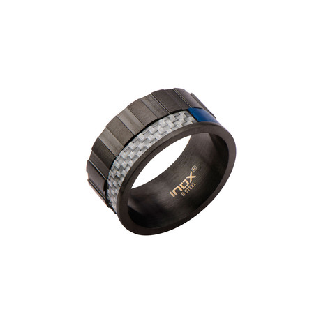 Carbon Fiber Accent Ring // Gray + Blue (Size 9)