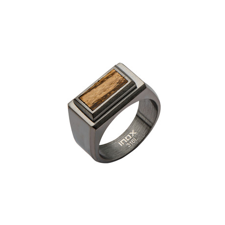 Stainless Steel Zebra Wood Ring // Brown (Size: 9)