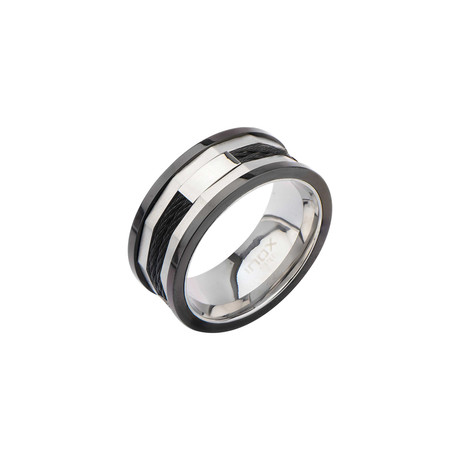 Stainless Steel Hexagon Ring // Black (Size: 9)