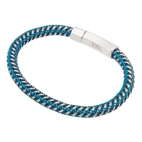 Woven Rubber Bracelet // Blue + Black + White