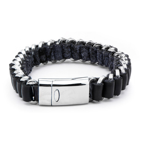 Leather + Steel Edge Bracelet // Black