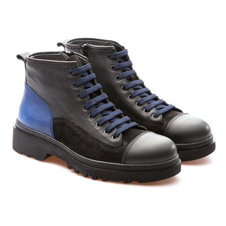 Murdock Cap Toe Boot // Black + Saks Blue (Euro: 39)