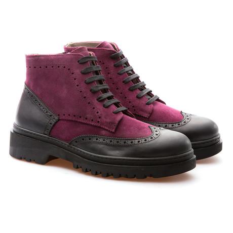 Harold Wingtip Brogue Boot // Fuchsia + Black (Euro: 39)