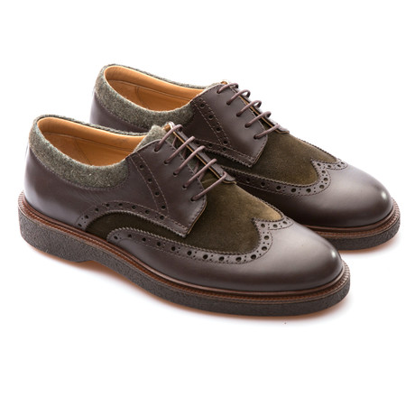 Matteo Wingtip Brogue Derby // Brown + Khaki (Euro: 39)