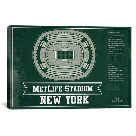 "New York Metlife Stadium // Team Colors (12""W x 18""H x 0.75""D)"