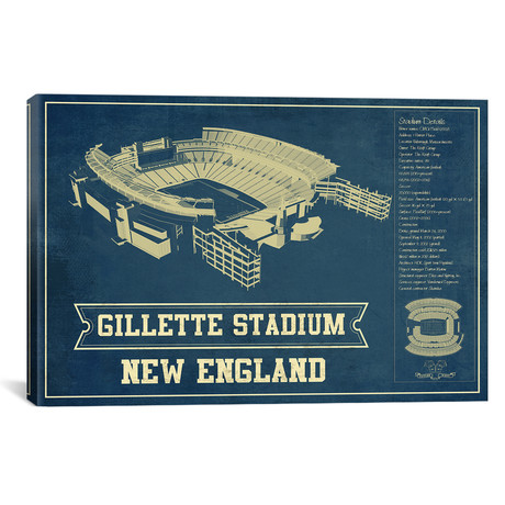 "New England Gillette Stadium III (12""W x 18""H x 0.75""D)"