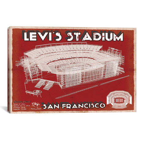 "San Francisco Levi's Stadium // Team Colors (12""W x 18""H x 0.75""D)"