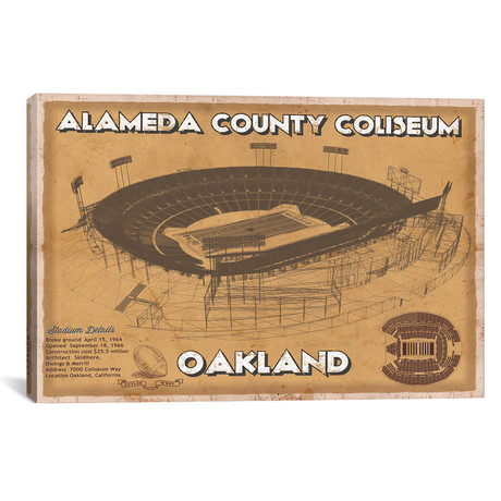 "Oakland Alameda County Coliseum II (12""W x 18""H x 0.75""D)"