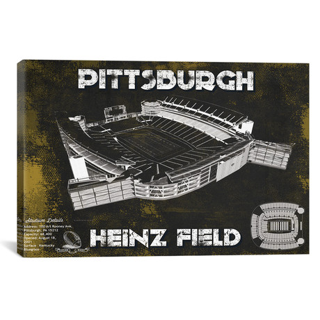 "Pittsburgh Heinz Field // Team Colors (12""W x 18""H x 0.75""D)"