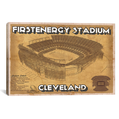 "Cleveland First Energy Stadium (12""W x 18""H x 0.75""D)"