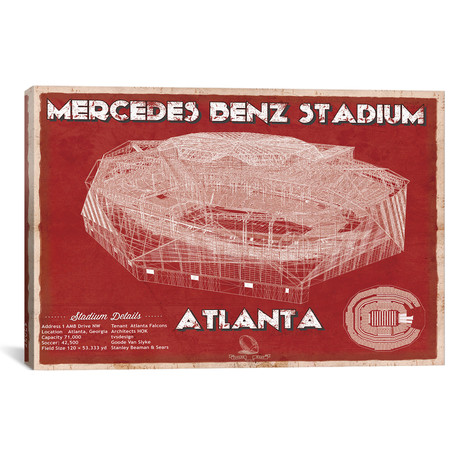 "Atlanta Mercedes Benz Stadium // Team Colors (12""W x 18""H x 0.75""D)"