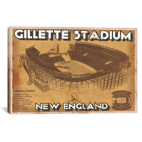 "New England Gillette Stadium Brown (12""W x 18""H x 0.75""D)"