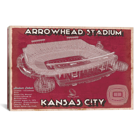"Kansas City Arrowhead Stadium (12""W x 18""H x 0.75""D)"