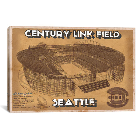 "Seattle Century Link Field // Brown (12""W x 18""H x 0.75""D)"