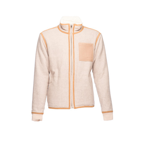 Front Zip Sherpa Jacket // Tan (XS)