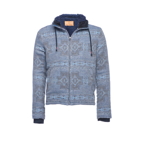 Hooded Zip Sherpa Jacket // Navy (XS)