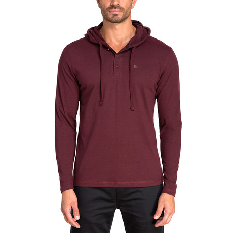 Henley Knit Hoodie // Cranberry (S)