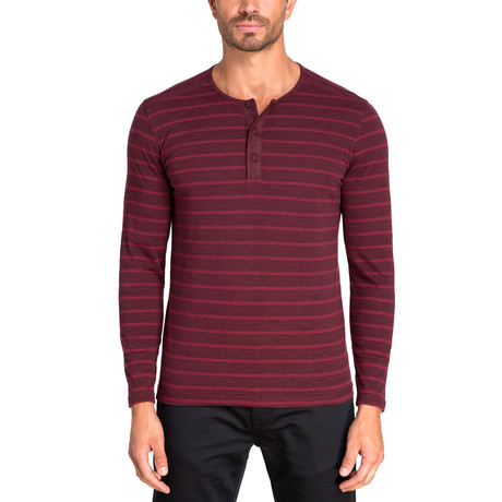 Henley Long Sleeve Knit // Cranberry (S)