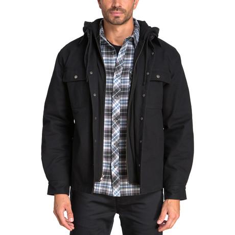 Long Sleeve Panama Canvas Shirt Jacket // Black (S)