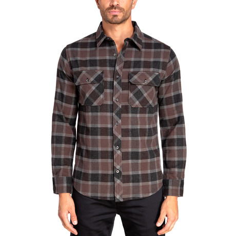 Long Sleeve Flannel Shirt // Steel Heather + Charcoal Heather (S)