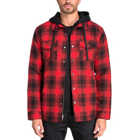Long Sleeve Flannel Shirt Jacket // Biking Red (S)