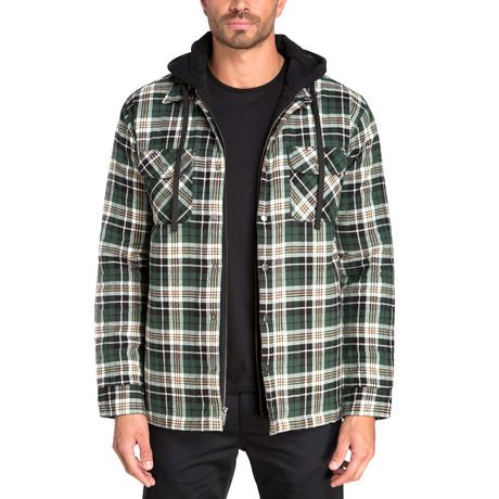 Long Sleeve Flannel Shirt Jacket // Fern Green (S)