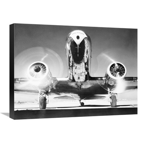 """Front View Of Passenger Airplane (24""""W x 18""""H x 1.5""""D)"""