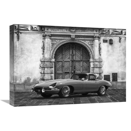 """Roadster In Front Of Classic Palace (BW) (22""""W x 16""""H x 1.5""""D)"""