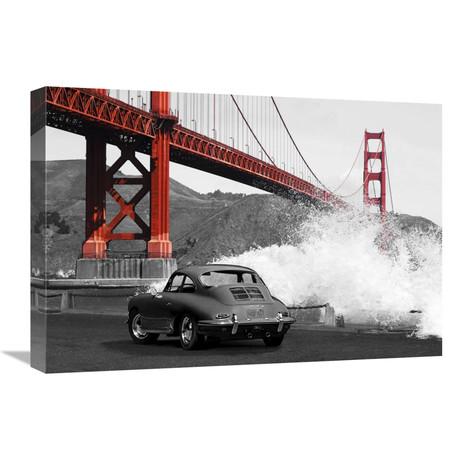 "Under The Golden Gate Bridge, San Francisco (BW) (24""W x 16""H x 1.5""D)"