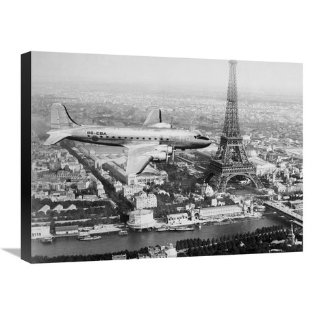 "Airplane Over Paris (24""W x 18""H x 1.5""D)"