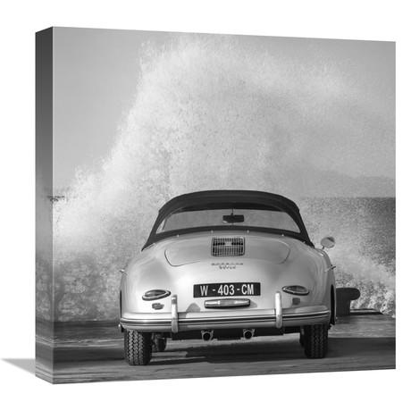 """Ocean Waves Breaking On Vintage Beauties (BW Detail 2) (18""""W x 18""""H x 1.5""""D)"""
