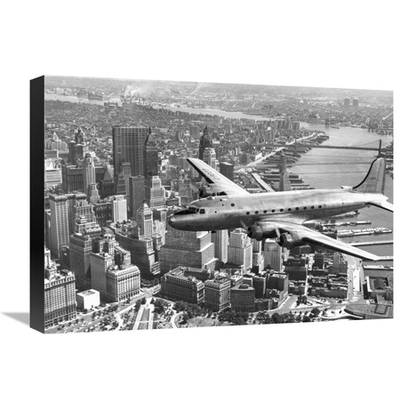 """Flying Over Manhattan, NYC (22""""W x 16""""H x 1.5""""D)"""