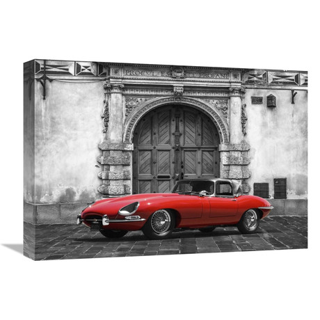 """Roadster In Front Of Classic Palace (22""""W x 16""""H x 1.5""""D)"""