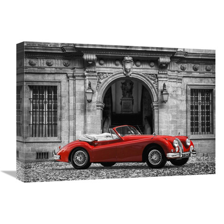 """Luxury Car In Front Of Classic Palace (22""""W x 16""""H x 1.5""""D)"""