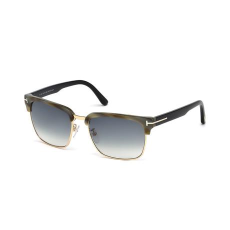 Men's River Sunglasses // Corno + Beige + Smoke Gradient