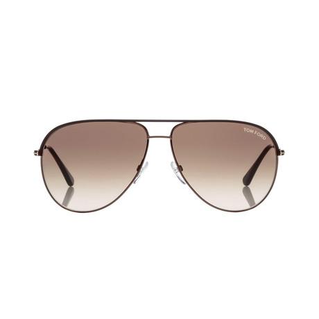 Men's Aviator Sunglasses // Brown + Brown Gradient