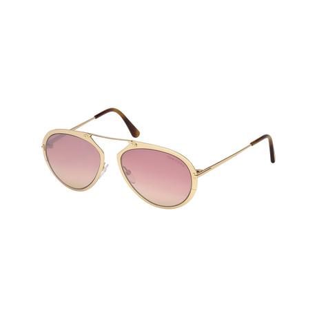 Men's Dashel Sunglasses // Shiny Rose Gold + Mirrored Violet