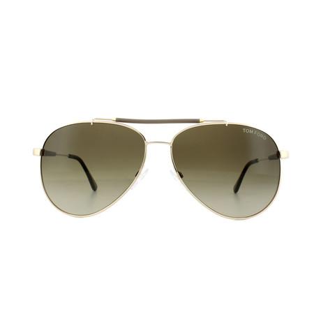 Men's Rick Sunglasses // Shiny Gold + Brown Gradient